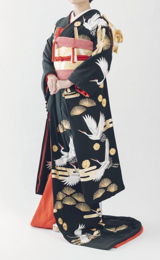 鶴に霞金松梅の写真